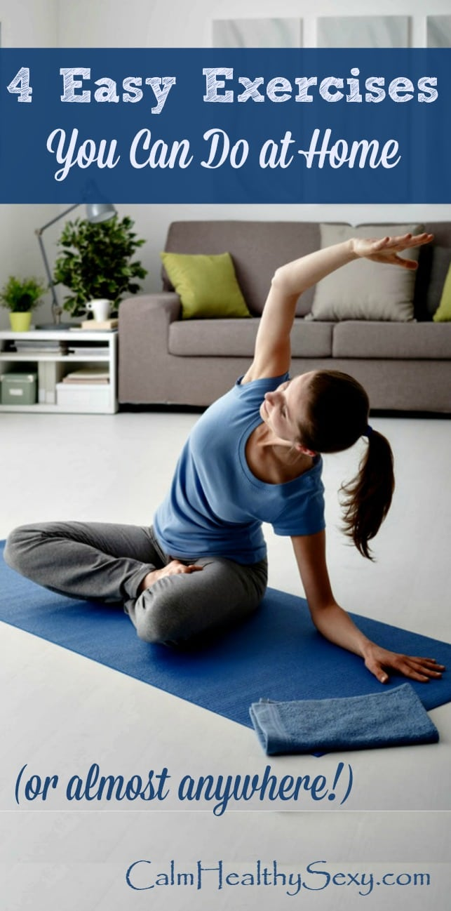 Here are 4 simple exercises to do at home (or just about anywhere!) Workout even when you don't have much time. Fitness | Exercise tips | Exercise routines | Healthy living | Workout at home