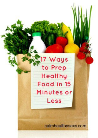 Healthy food in grocery bag with text