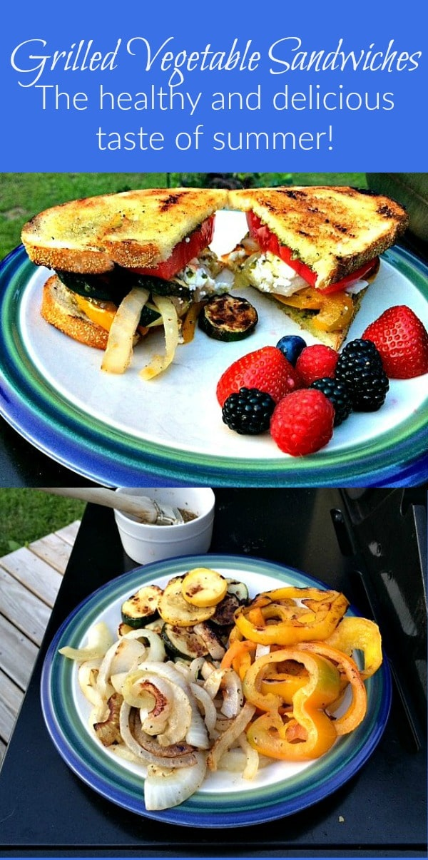 Grilled Vegetable Sandwiches - If you're looking for easy, healthy and delicious summer recipes, look no further than these delicious sandwiches on the grill! They make a great vegetarian dinner, but my meat eaters love them too! Use as many or as few vegetables as you like, plus cheese, condiments or my secret ingredient! Grilling recipes | Family dinner ideas | Vegan option