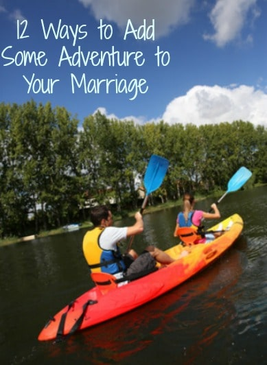 Couple kayaking with text