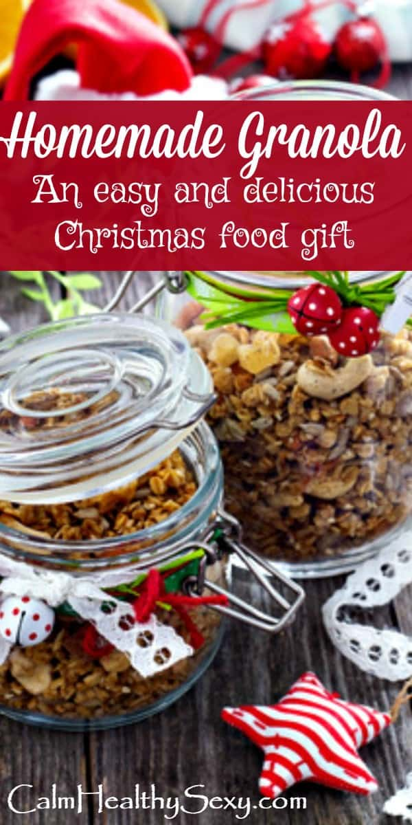 Homemade Granola is the Perfect Christmas Food Gift! It's is easy to make and package, people love to receive it - and it's healthy. Includes recipe and packaging ideas. Christmas food gift #Christmas #FoodGifts #HealthyFoodGifts