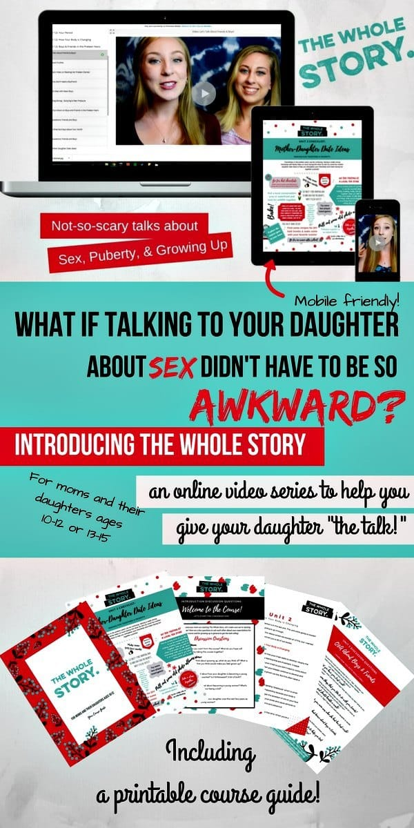Here's an easier way to talk to your daughter about sex, puberty and her body - a great new video course by Sheila Wray Gregoire and her daughters helps mom talk to their daughters more easily about important but difficult topics. The VIP version that includes both courses (ages 10-12 and 13-15) plus bonuses is on sale for $69 until midnight, 9/17/17. You can also purchase each course separately.