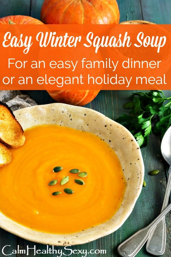 Easy butternut squash soup is perfect for a casual family dinner or an elegant Thanksgiving or Christmas meal
